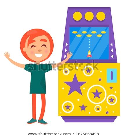 Young Girl Playing Rocket Arcade Machine Vector Stock photo © robuart