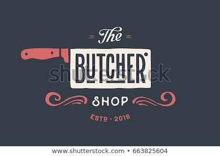 Label logo butchery meat shop Stock photo © FoxysGraphic