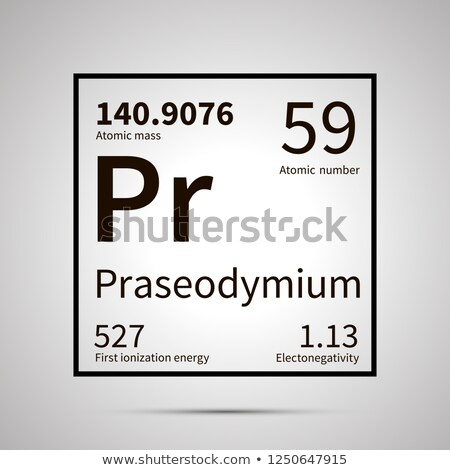 Praseodymium chemical element with first ionization energy, atomic mass and electronegativity values Stock photo © evgeny89