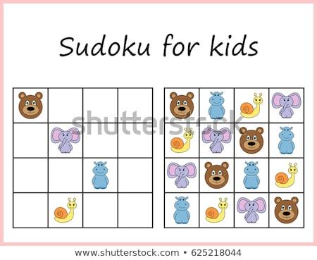 Sudoku for kids. Game for preschool kids, training logic Stock photo © natali_brill