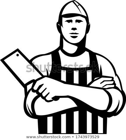 Butcher With Meat Cleaver Knife Arms Crossed Front Retro Black and White Stock photo © patrimonio
