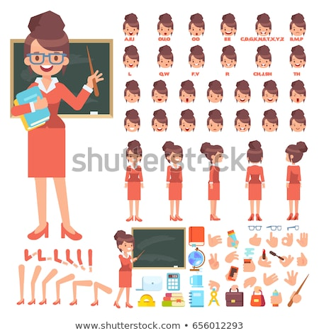 Female Teacher in front of School Board Vector Stock photo © robuart
