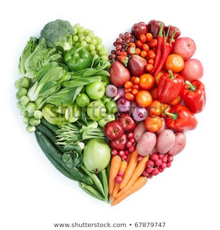 Gyümölcsök zöldségek szív alak természet egészség művészet Stock fotó © kariiika