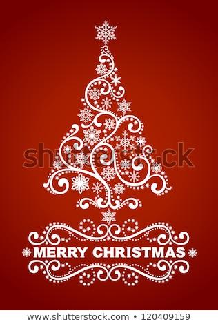 Photo stock: Rouge · carte · Noël · flocons · de · neige · eps · vecteur