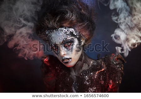 bruxa · menina · cabo · de · vassoura · halloween · ilustração · little · girl - foto stock © vlad35