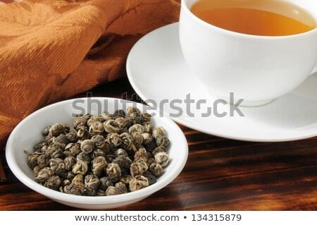 Duftenden Tee Ball weiß Blume Blätter Stock foto © dutourdumonde