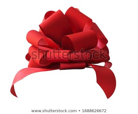 Big red holiday bow on white Stock photo © Sandralise