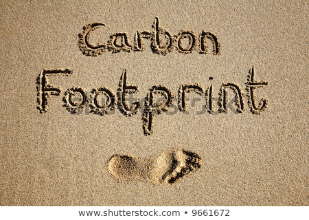 carbon footprint written in sand on a beach stock photo © latent