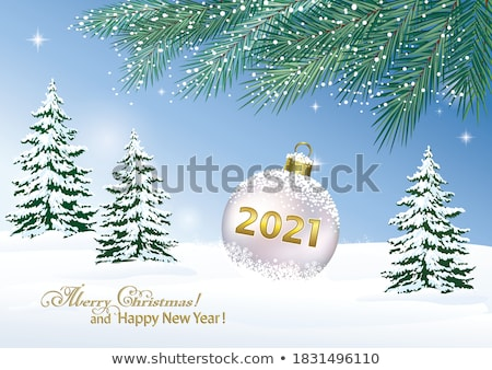 vector winter card with golden snowy landscape stock photo © orson
