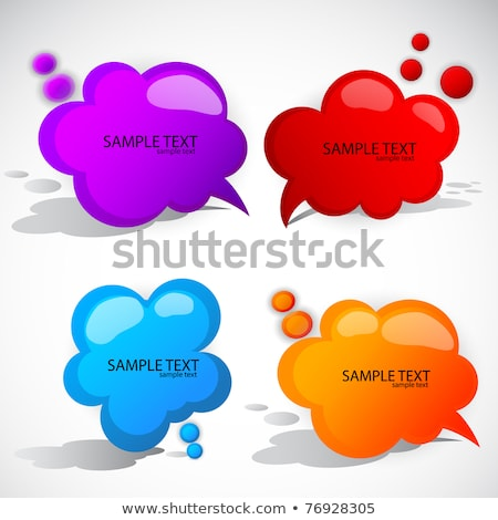 set of vector plastic comic clouds and bubbles stock photo © orson