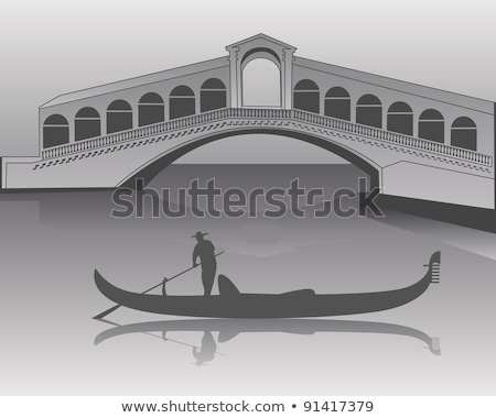 Veneziano gôndola ponte cinza silhueta cidade Foto stock © mayboro