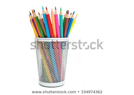 Rainbow Colored pencils in wooden case Stock photo © zhekos