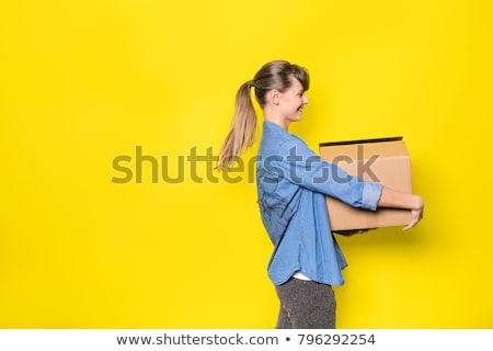 Attractive young woman holding a post stock photo © photography33