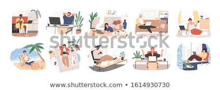 nő · kanapé · ír · jegyzettömb · otthon · nyugodt - stock fotó © get4net