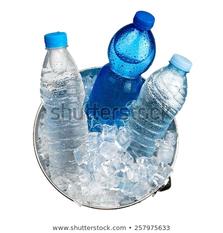 Three mineral water bottles on ice Stock photo © calvste
