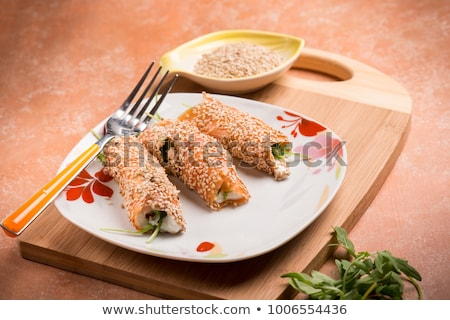 salmon rolled with cheese stock photo © m-studio
