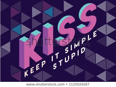 Csók betűszó iskolatábla szuper egyszerű írott Stock fotó © bbbar