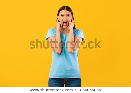 Jonge vrouw oren schreeuwen vrouw handen gezicht Stockfoto © photography33