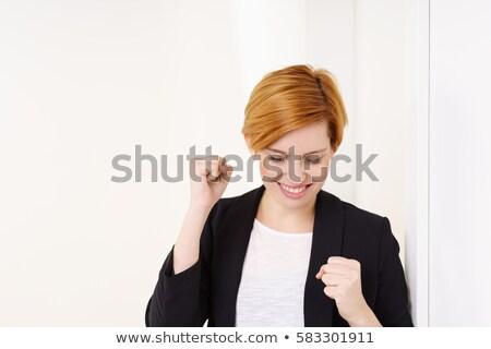 genç · kadın · kırmızı · iş · takım · elbise · kız · seksi - stok fotoğraf © pzaxe