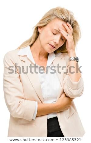 nő · fejfájás · idős · nő · stressz · depresszió · kezek - stock fotó © stockyimages