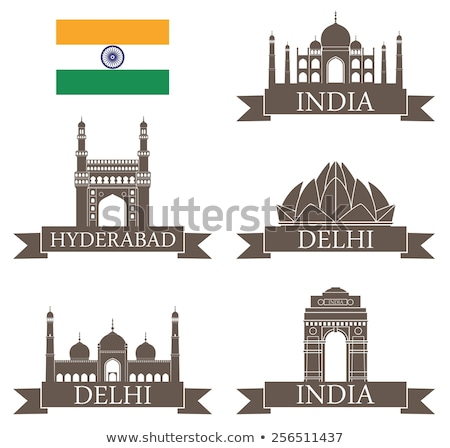 set of silhouettes of monuments with flags Stock photo © perysty