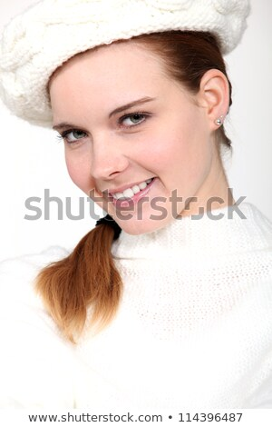 portrait of delightful woman with woolen cap and jumper Stock photo © photography33