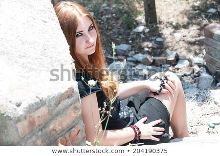 Pretty girl punk with creative make-up and clothes posing Stock photo © gromovataya