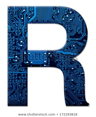 Dígito eletrônico placa de circuito alfabeto branco um Foto stock © pzaxe