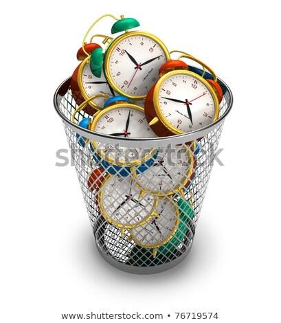 Wasting Time Concept: Clocks in Trash Bin. Stock photo © tashatuvango