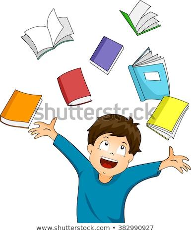 glimlachend · weinig · student · jongen · Blauw · boek - stockfoto © get4net