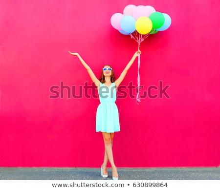 feliz · mulher · balões · mulher · jovem · isolado · branco - foto stock © rosipro