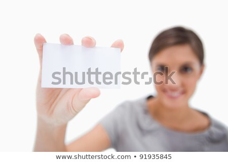 wizytówkę · uśmiechnięta · kobieta · biały · uśmiech · przestrzeni · obrotu - zdjęcia stock © wavebreak_media