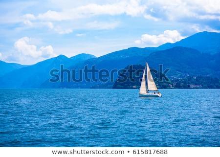Jacht kék alpesi tó fa tavasz Stock fotó © macsim