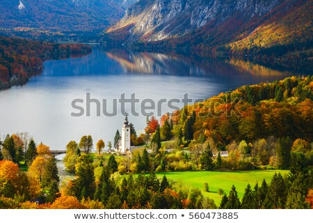 Szlovénia · panoráma · üdülőhely · tó · légifelvétel · légi - stock fotó © smuki