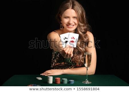 genç · kadın · oynamak · poker · beyaz - stok fotoğraf © paolopagani