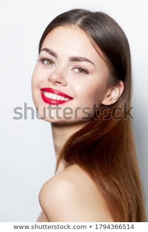 Primo piano donna sorridente labbra rosse sexy moda modello Foto d'archivio © wavebreak_media