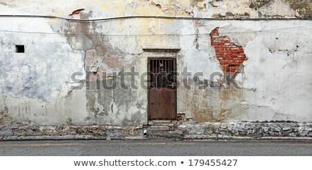 ストックフォト: ドア · 古い · レンガの壁 · 古代 · グリル · 壁