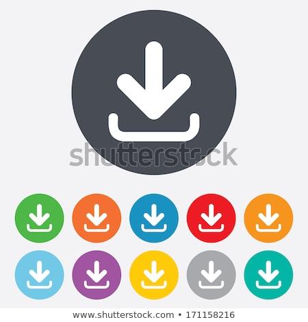 Stockfoto: Downloaden · knop · ingesteld · zwarte · grijs