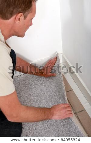 Człowiek dywan rogu pokój pracy pracownika Zdjęcia stock © photography33