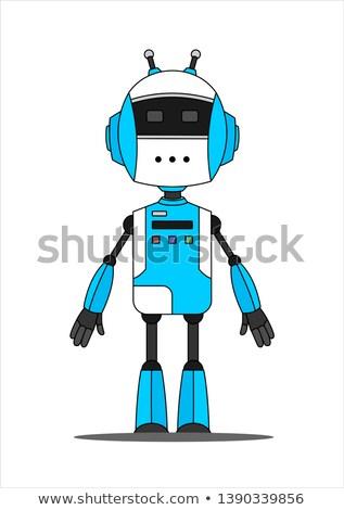mavi · oyuncak · bağbozumu · robot · ayarlamak · beyaz - stok fotoğraf © creisinger