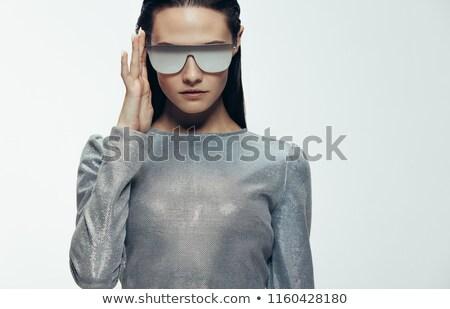 futurisztikus · nő · divat · portré · ujjak · arc - stock fotó © lunamarina