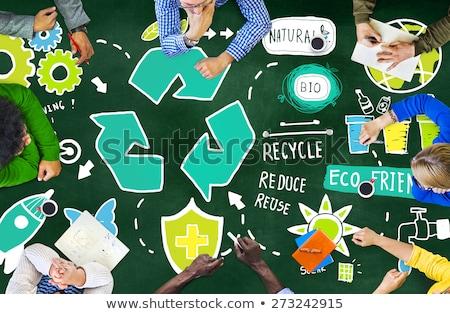 recycling · teken · Blackboard · drie · pijlen · witte - stockfoto © PixelsAway