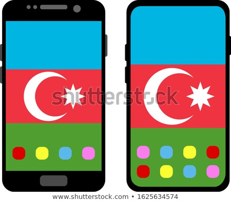 etiqueta · bandera · Azerbaiyán · aislado · blanco · viaje - foto stock © lirch