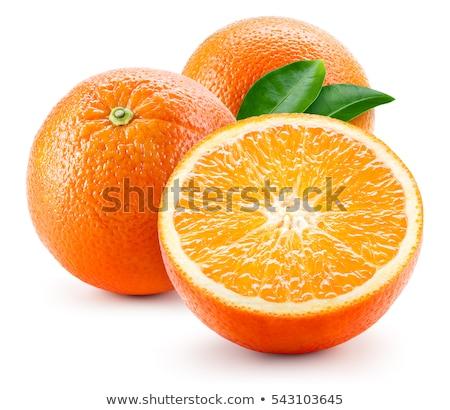 Foto stock: Sweet Orange Fruit With Leaves