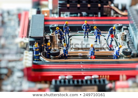 Foto stock: Grupo · reparar · computador · reparação · de · computadores · trabalhar · fundo