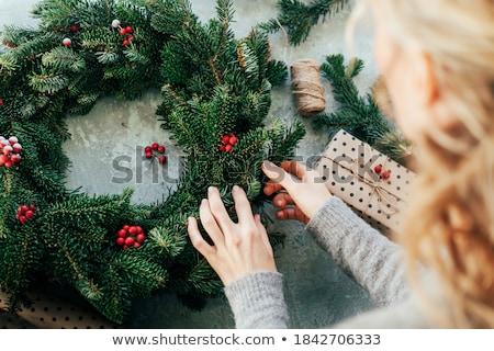 Advent koszorú részlet elmosódott fények karácsonyfa Stock fotó © MKucova
