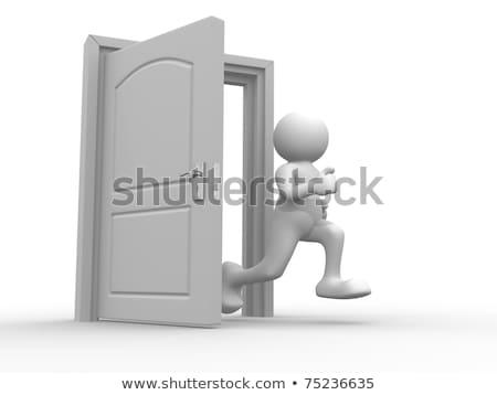 3d pessoas homem corrida abrir a porta eps 10 Foto stock © Istanbul2009