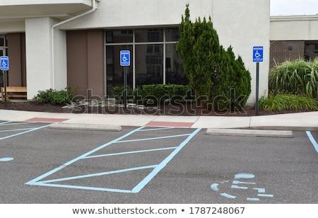 Fogyatékos parkolás felirat utca kék tér Stock fotó © Hofmeester