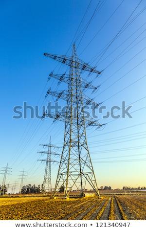 Elektromos feszültség torony vidéki táj kék ég égbolt technológia Stock fotó © meinzahn