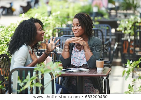 Foto stock: Belo · africano · americano · mulher · comprimido · africano